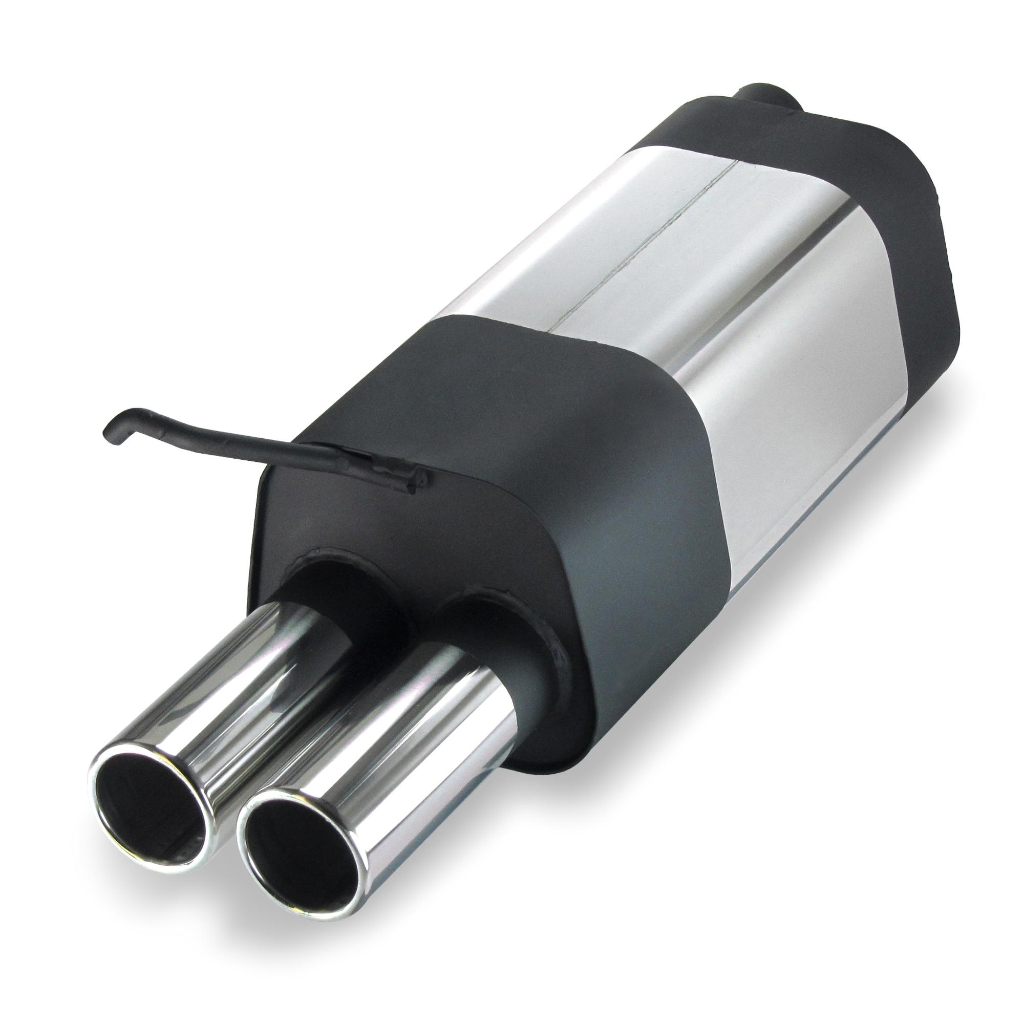 JOM Bagpotte rustfri stål med 2x76 mm lige afgange. Til VW Golf 41J Udvendig tilbehør > Udstødning
