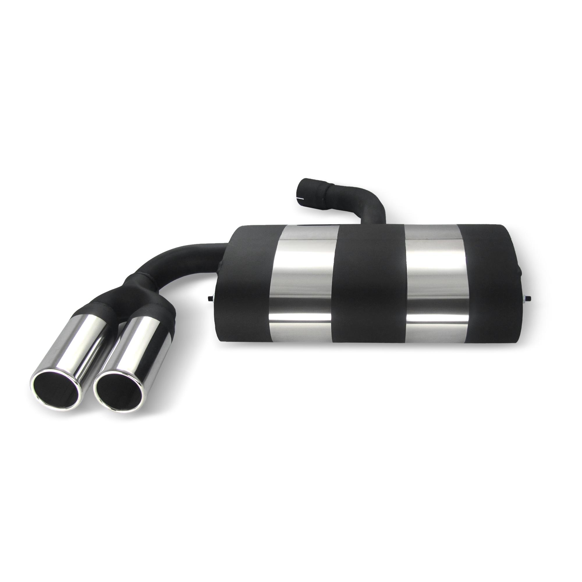 JOM Bagpotte rustfri stål med 2x76 mm lige afgange. Til VW Golf 5 and Golf 5 Plus Udvendig tilbehør > Udstødning