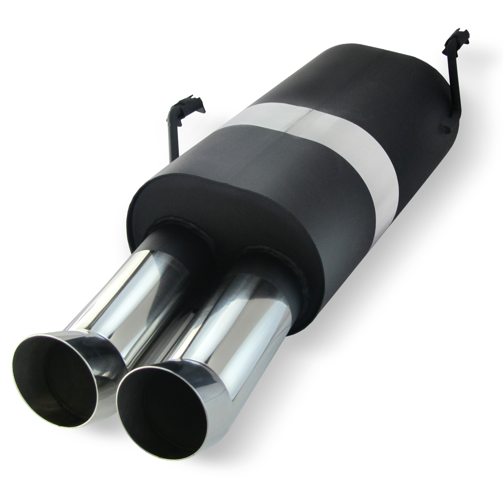 JOM Bagpotte rustfri stål med 2x76 mm afgange - DTM look. Til Peugeot 206 Type 2 årgang 98- Udvendig tilbehør > Udstødning