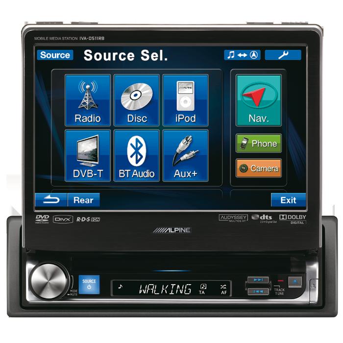 Alpine IVA-D511RB 1 DIN Multimedie Station 3 line out - Rød/Blå lys Bilstereo > Multimedie > Multimedie stationer