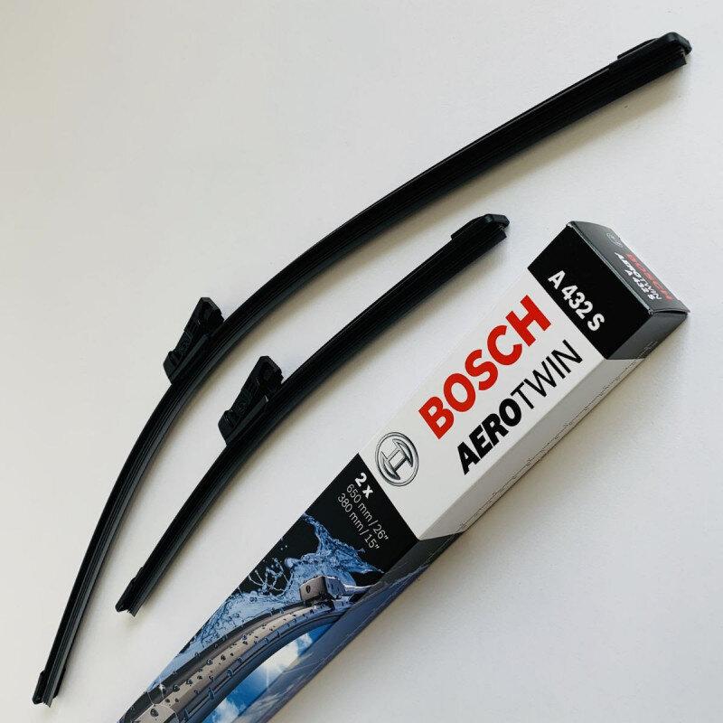 A432S Bosch AeroTwin Vinduesvisker / Viskerblade sæt på 65+38cm passer til Ford Fiesta årg. 2009 og frem Bosch Vinduesvisker / Viskeblade & Bagrudeviskere