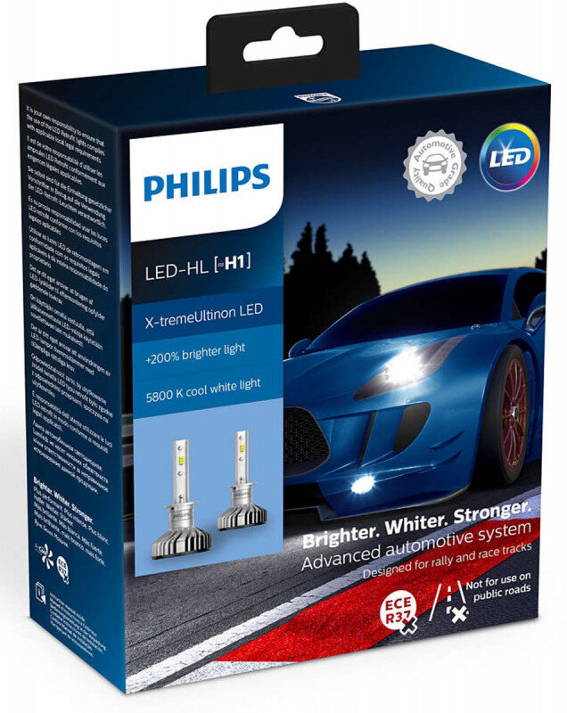 Philips X-treme Ultinon H1 LED +200% mere lys (2 stk.) Philips X-Treme Ultinon LED +200% / +250%