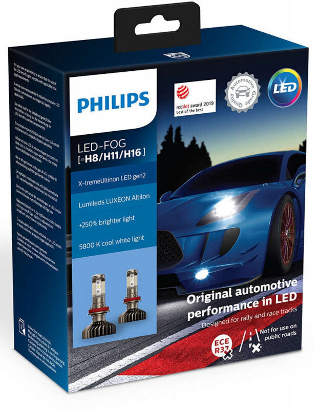 Philips X-treme Ultinon H8/H11/H16 LED +250% mere lys ( 2 stk. (( Tåge lys )) Philips X-Treme Ultinon LED +200% / +250%