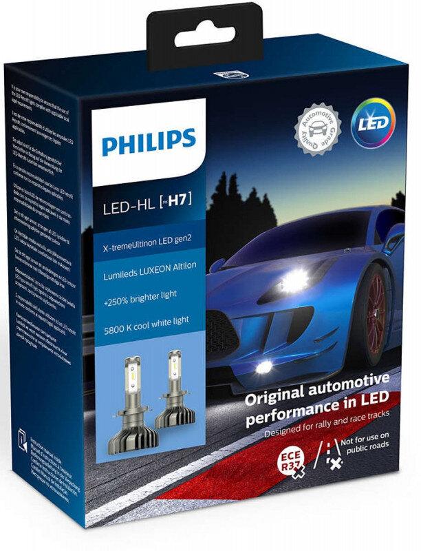 Philips X-treme Ultinon H7 LED +250% mere lys (2 stk.) Philips X-Treme Ultinon LED +200% / +250%