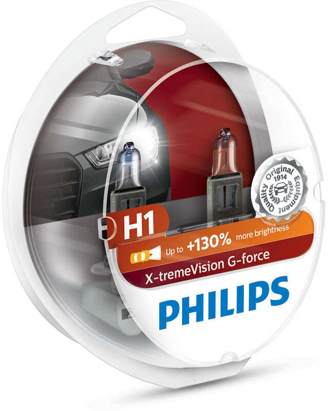 Philips H1 X-tremeVision G-force pærer +130% mere lys ( 2 stk) Philips Xtreme Vision G-force +130%