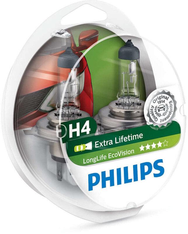 Philips H4 Longlife EcoVision pære med op til 4x længere levetid Philips LongLife EcoVision x4