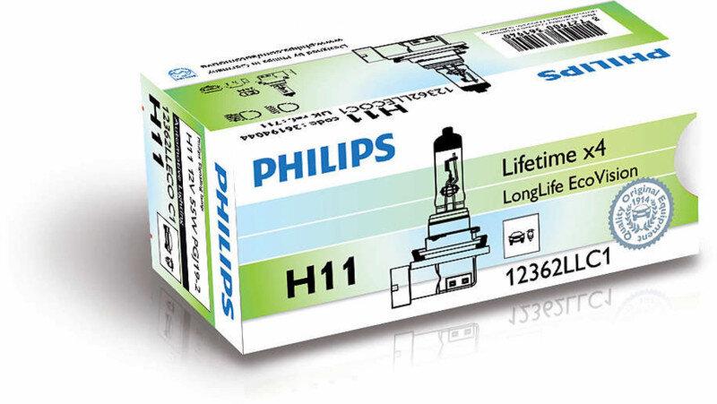 Philips H11 LongLife EcoVision pære med op til 4x længere levetid Philips LongLife EcoVision x4