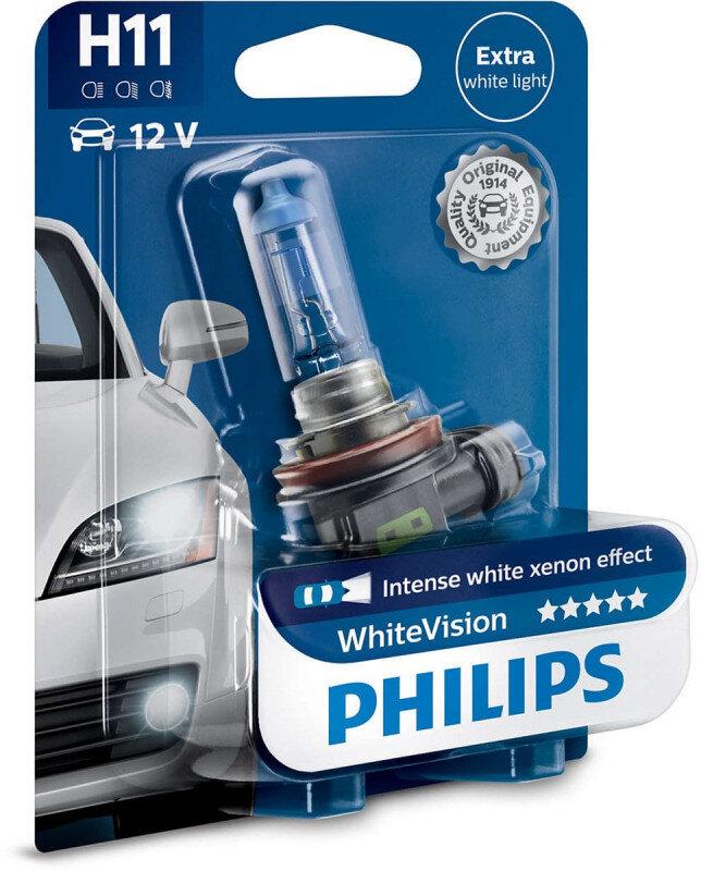 Philips White Vision H11 pære med Xenon effekt & +60% mere lys (1 stk) Philips White Vision +60% mere lys