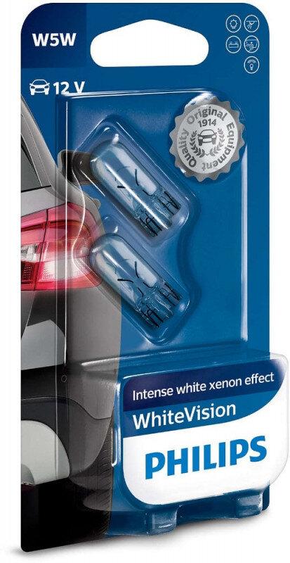 Philips W5W White Vision pærer med Xenon effekt & +60% mere lys (2 stk) Philips White Vision +60% mere lys