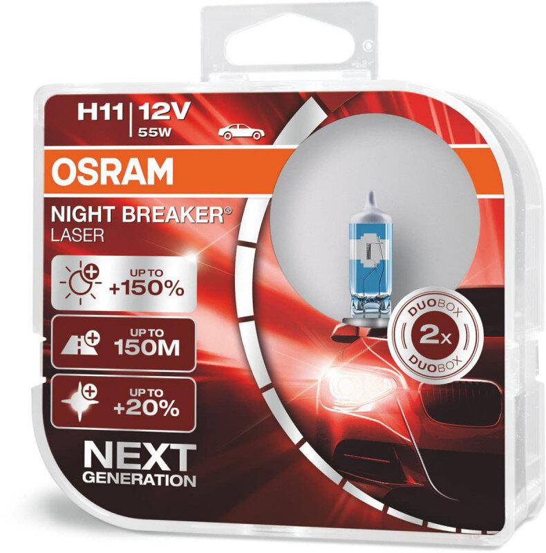 Osram Night Breaker Laser H11 pærer +150% mere lys (2 stk) pakke Osram Night Breaker Laser +150%