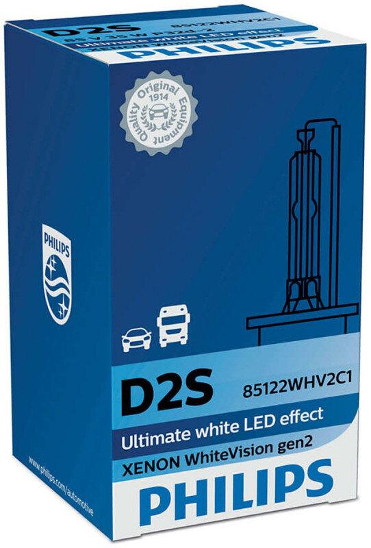 Philips D2S WhiteVision gen2 Xenonpære med +120% mere lys (1 stk) Xenon Pærer