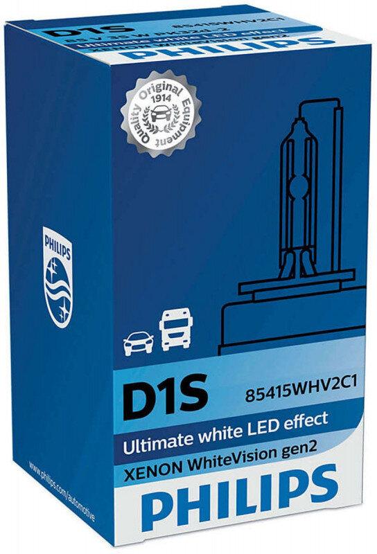 Philips D1S WhiteVision gen2 Xenonpære med +120% mere lys (1 stk) Xenon Pærer
