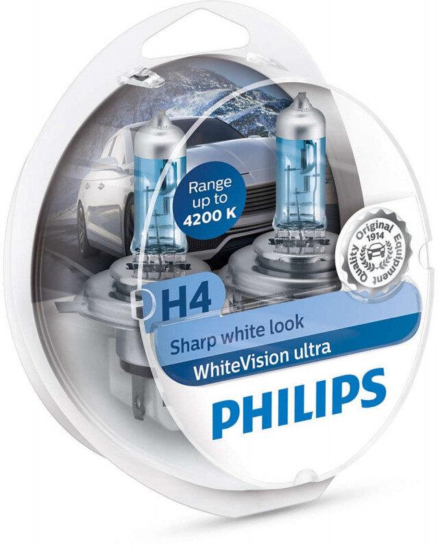 Philips WhiteVision Ultra H4 pærer 2 stk. Kit +60% mere lys | hvidt lys (op til 4200K) Philips WhiteVision Ultra +60% mere lys